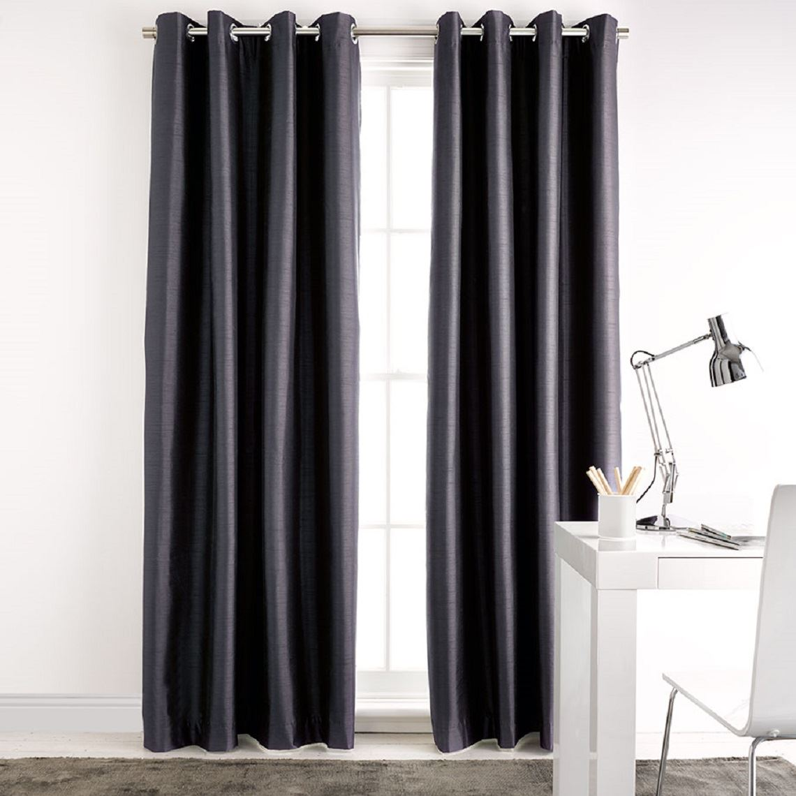 Aberdeen Blockout Eyelet Curtain Size W 140cm x D 1cm x H 230cm in Slate 100% Polyester/Acrylic Flock Coating/Stainless Steel Freedom by Freedom, a Curtains for sale on Style Sourcebook