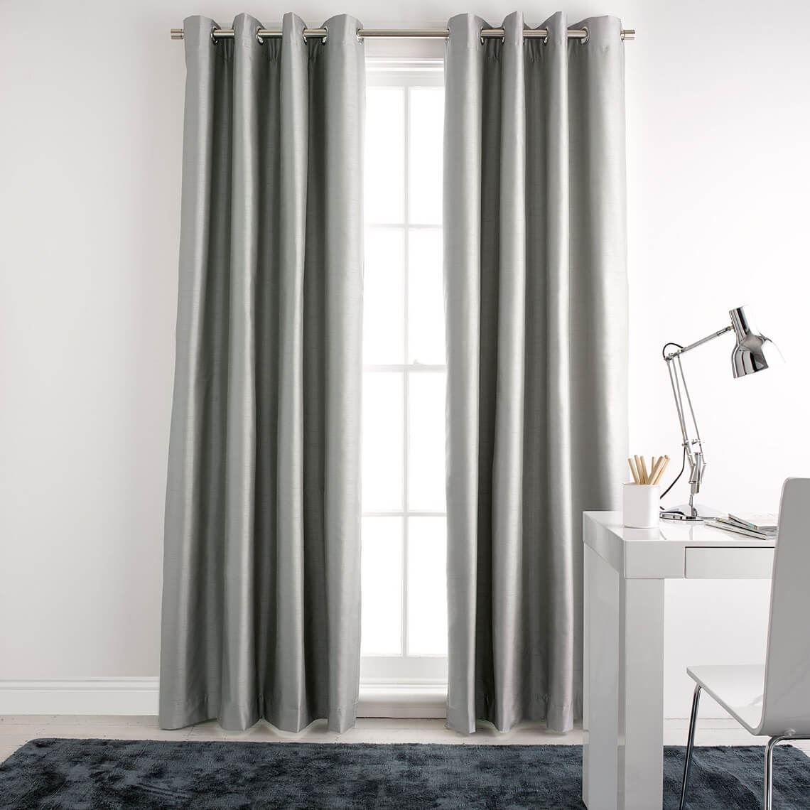 Aberdeen Blockout Eyelet Curtain Size W 140cm x D 1cm x H 230cm in Silver 100% Polyester/Acrylic Flock Coating/Stainless Steel Freedom by Freedom, a Curtains for sale on Style Sourcebook
