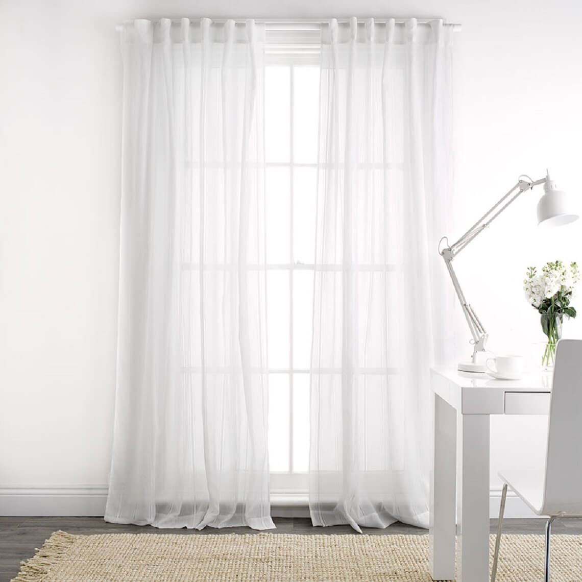 Elisa Sheer Concealed Tab Curtain Size W 140cm x D 1cm x H 230cm in White Polyester Freedom by Freedom, a Curtains for sale on Style Sourcebook
