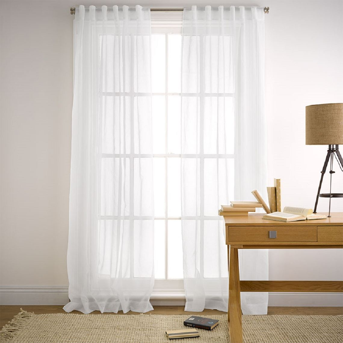 Mineral Tab Curtain Size W 180cm x D 1cm x H 250cm in White 100% Polyester Freedom by Freedom, a Curtains for sale on Style Sourcebook