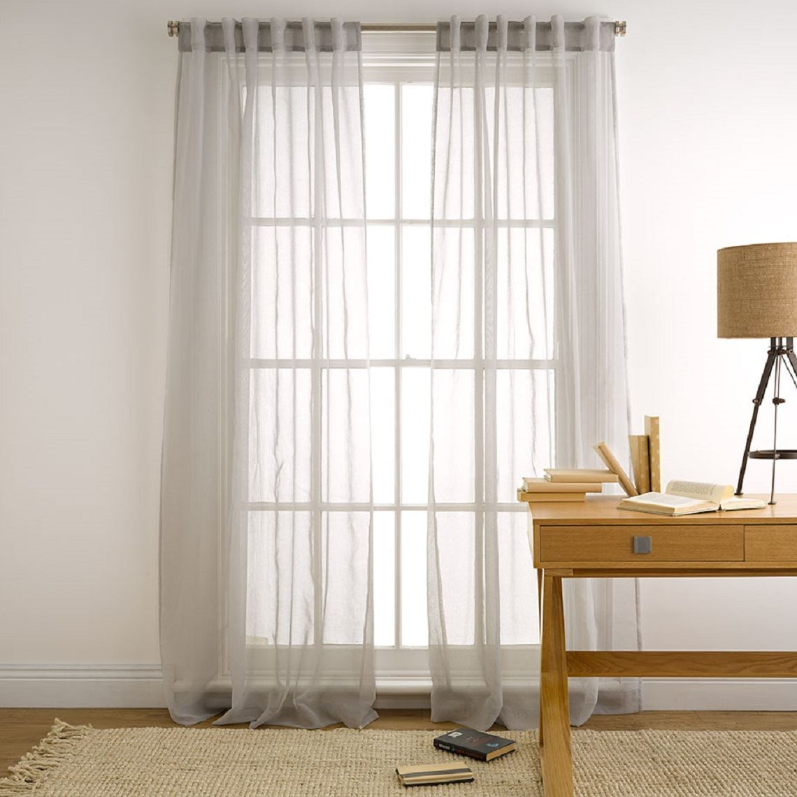 Mineral Tab Curtain Size W 180cm x D 1cm x H 250cm in Silver 100% Polyester Freedom by Freedom, a Curtains for sale on Style Sourcebook