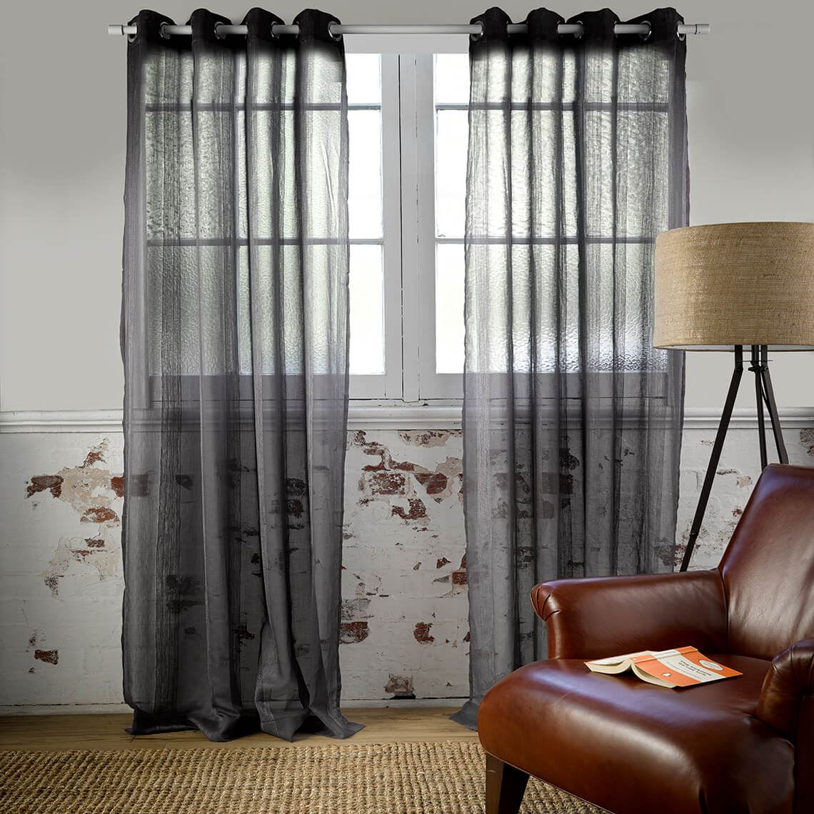 Houston Sheer Eyelet Curtain Size W 180cm x D 1cm x H 250cm in Charcoal 100% Polyester/Stainless Steel Freedom by Freedom, a Curtains for sale on Style Sourcebook