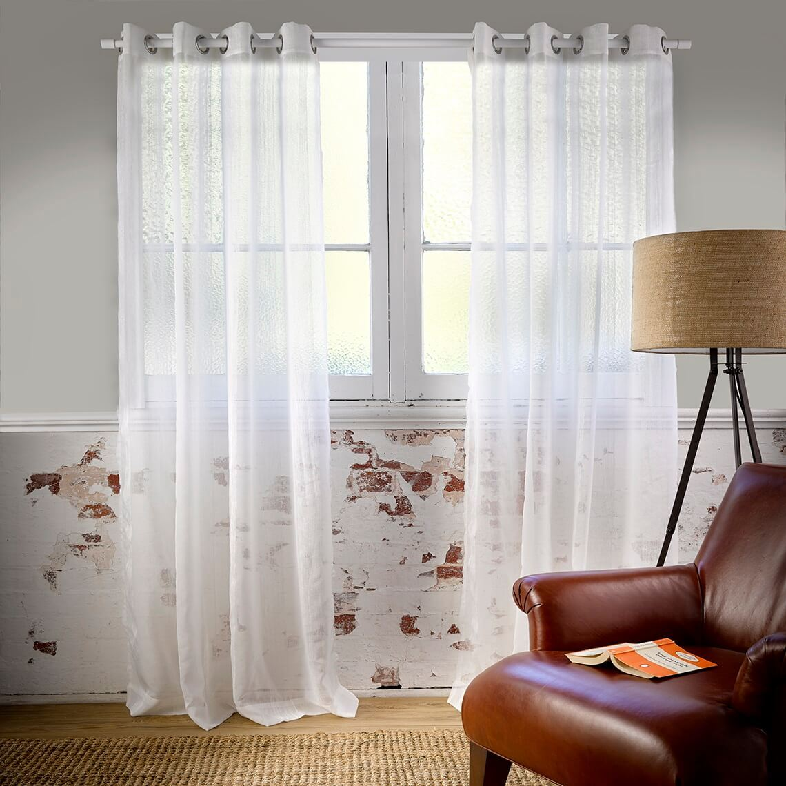 Houston Eyelet Curtain Size W 180cm x D 1cm x H 250cm in White 100% Polyester/Stainless Steel Freedom by Freedom, a Curtains for sale on Style Sourcebook