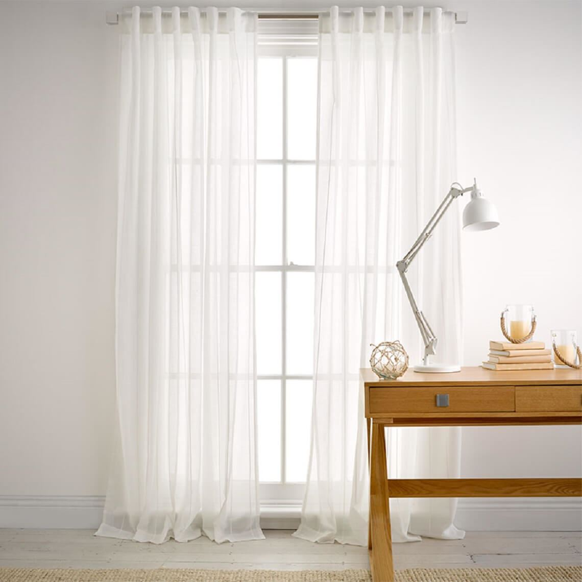 Plaited Sheer Concealed Tab Curtain Size W 140cm x D 1cm x H 230cm in White 100% Polyester Freedom by Freedom, a Curtains for sale on Style Sourcebook
