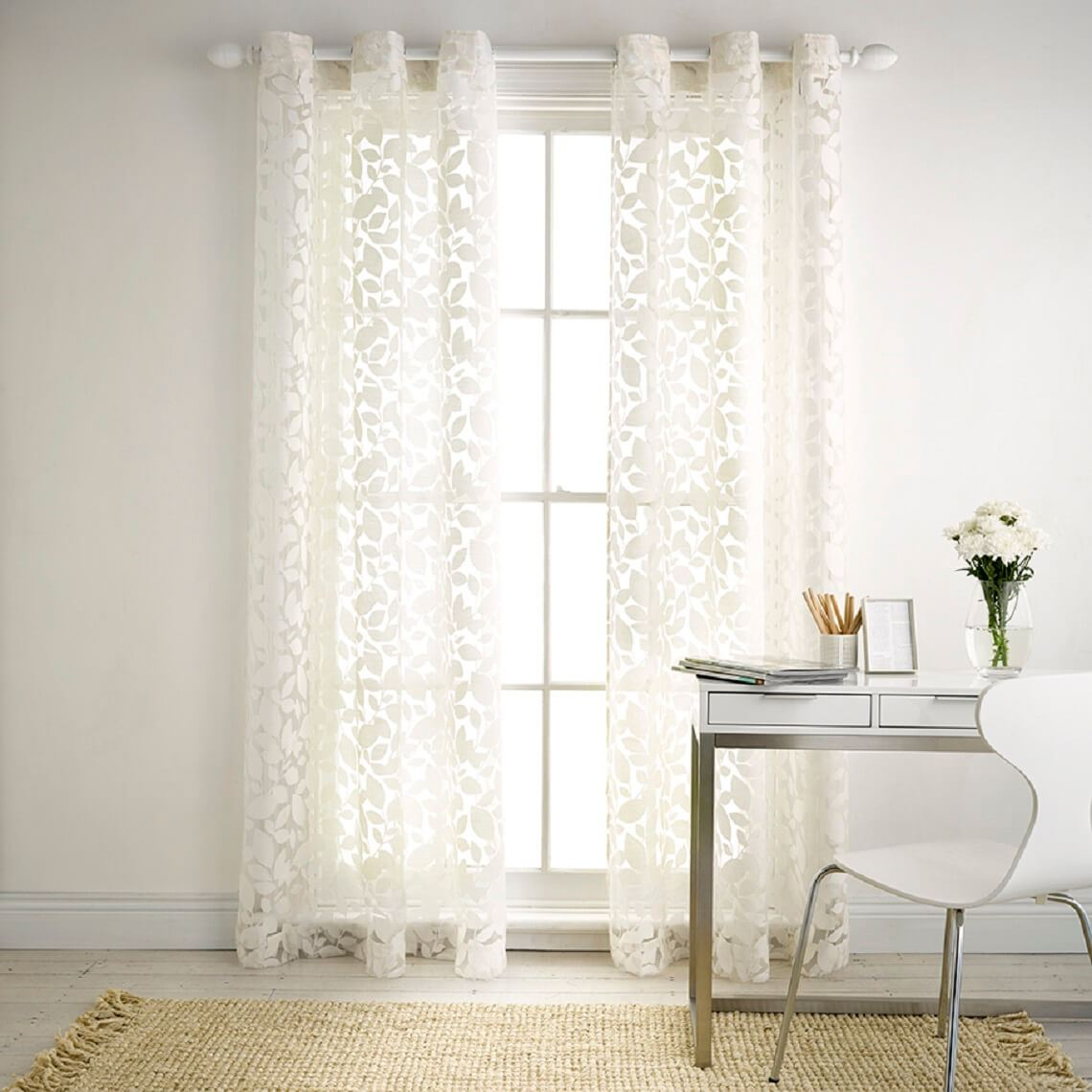 Silhouette Sheer Eyelet Curtain Size W 140cm x D 0cm x H 230cm in Antique White 100% Polyester/Stainless Steel Freedom by Freedom, a Curtains for sale on Style Sourcebook