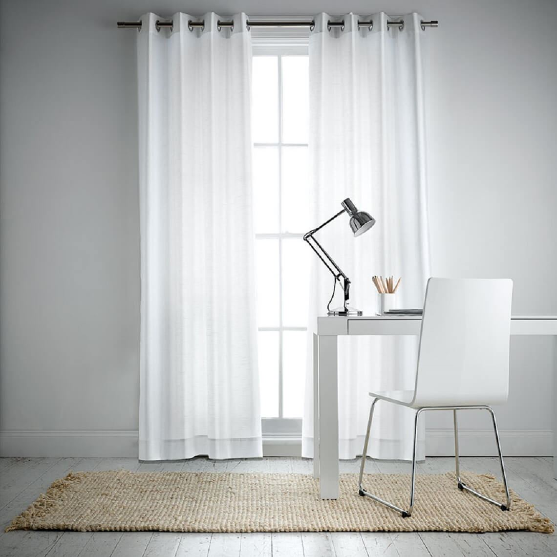 Aberdeen Lightfilter Eyelet Curtain Size W 140cm x D 5cm x H 230cm in White 100% Polyester/Acrylic Flock Coating/Stainless Steel Freedom by Freedom, a Curtains for sale on Style Sourcebook