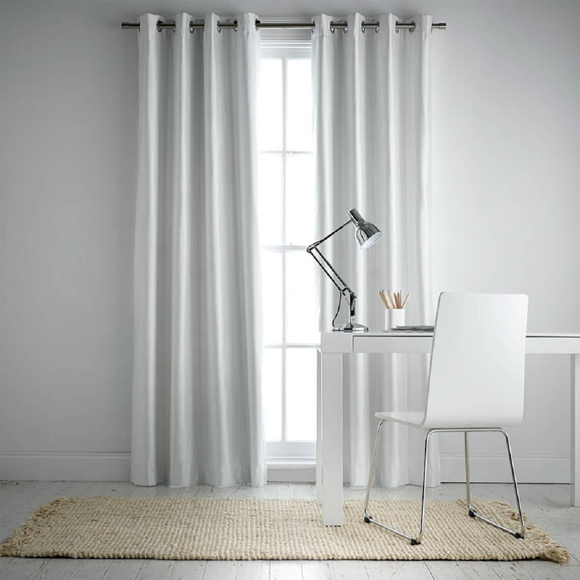 Aberdeen Blockout Eyelet Curtain Size W 140cm x D 5cm x H 230cm in White 100% Polyester/Acrylic Flock Coating/Stainless Steel Freedom by Freedom, a Curtains for sale on Style Sourcebook