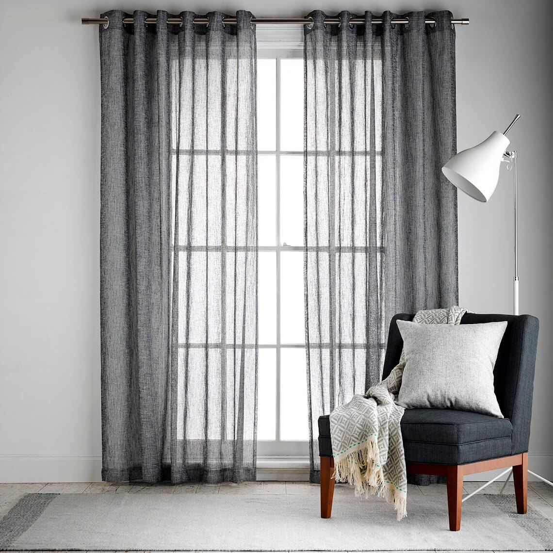 Bardwell Sheer Eyelet Curtain Size W 180cm x D 1cm x H 250cm in Black 100% Polyester/Acrylic Flock Coating/Stainless Steel Freedom by Freedom, a Curtains for sale on Style Sourcebook