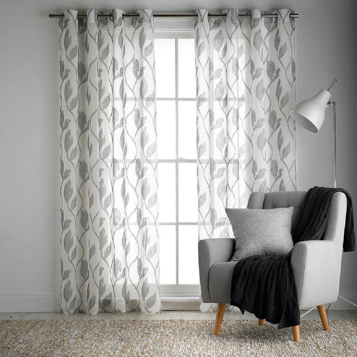 Tendril Sheer Eyelet Curtain Size W 180cm x D 1cm x H 250cm in Grey 100% Polyester/Stainless Steel Freedom by Freedom, a Curtains for sale on Style Sourcebook