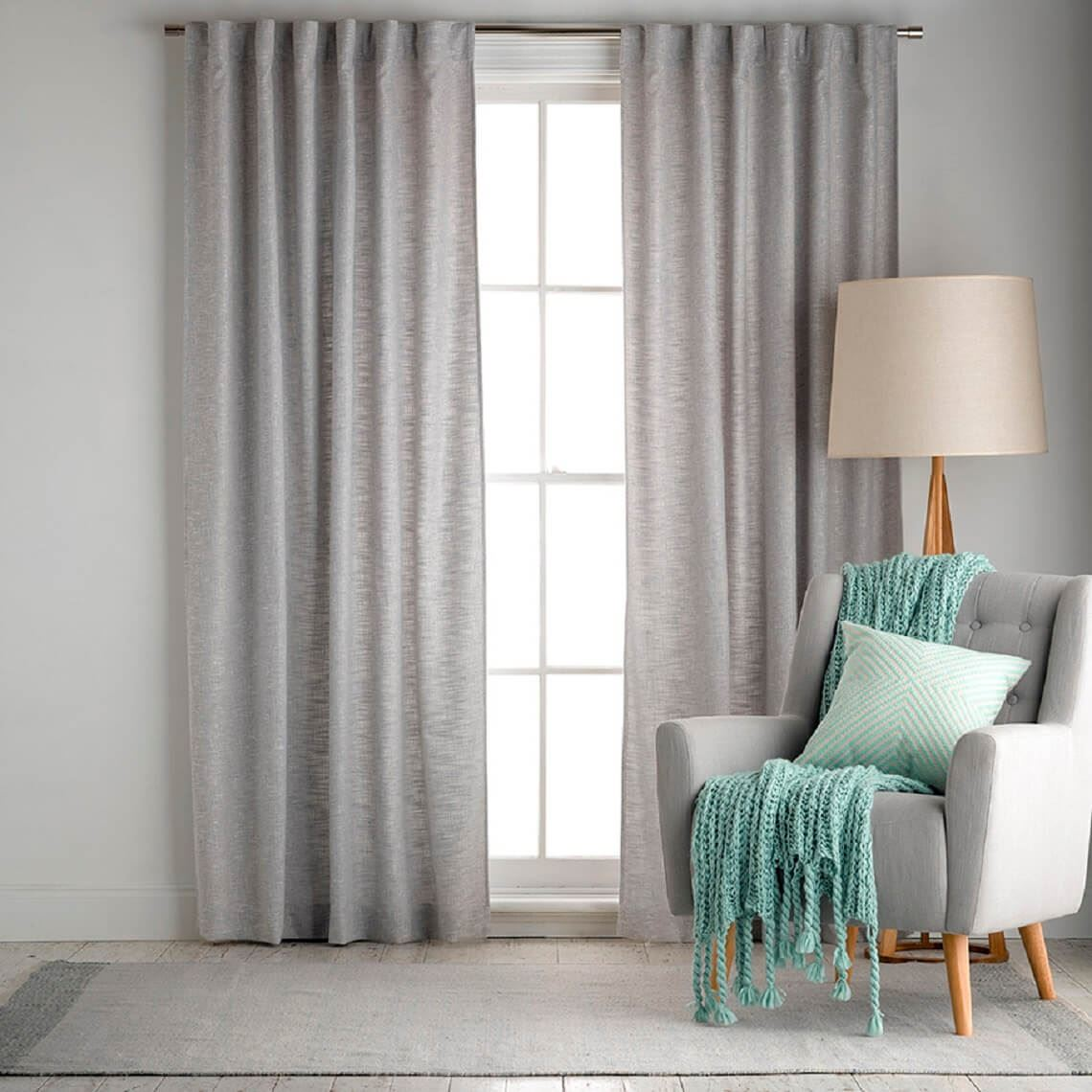 Clarence Curtain Size W 180cm x D 1cm x H 250cm in Silver 100% Polyester Freedom by Freedom, a Curtains for sale on Style Sourcebook