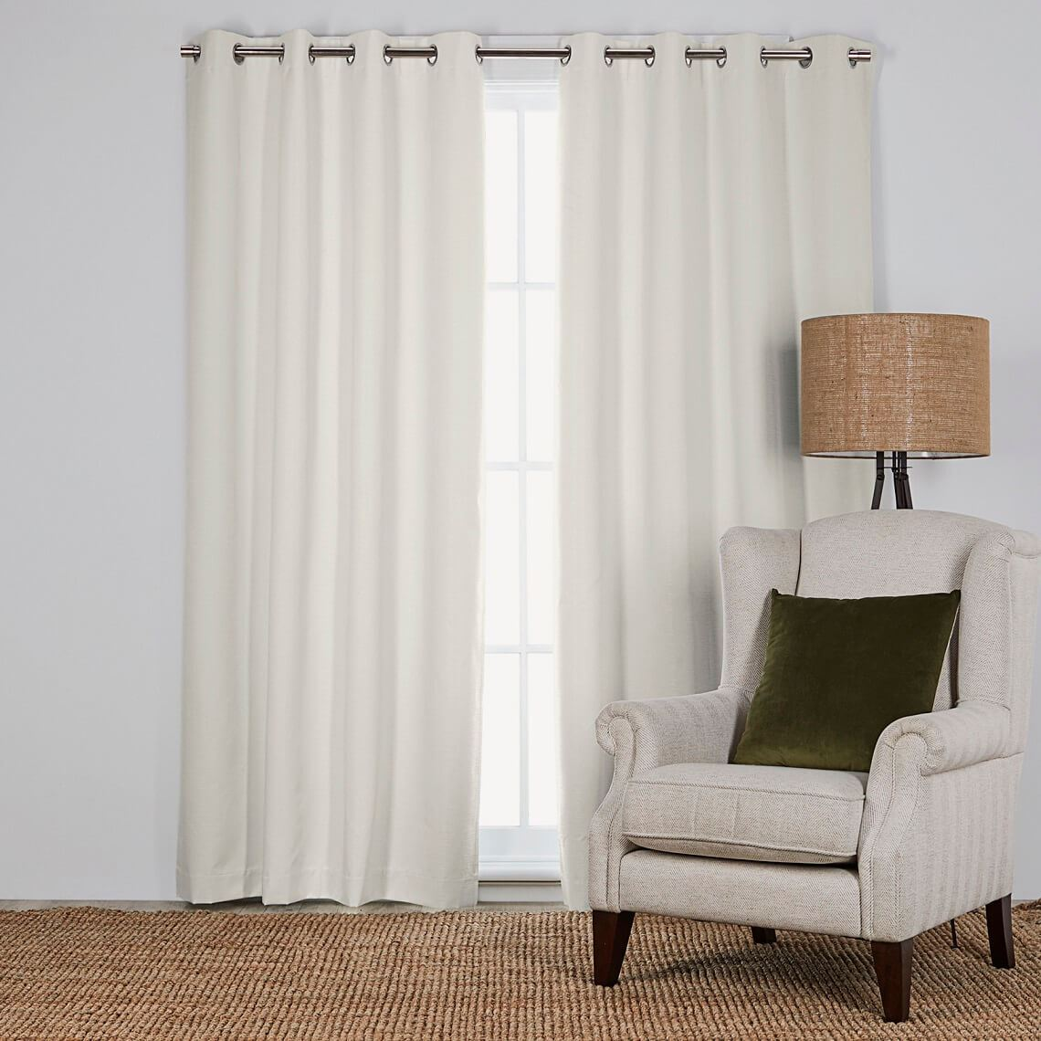 Belconnen Blockout Eyelet Curtain Size W 140cm x D 0cm x H 230cm in Snow 100% Polyester/Acrylic Flock Coating/Stainless Steel Freedom by Freedom, a Curtains for sale on Style Sourcebook