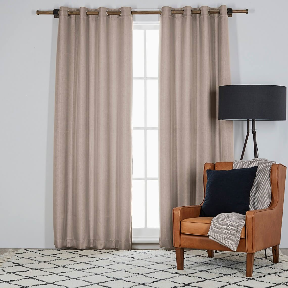 Harrison Room Darkening Eyelet Curtain Size W 135cm x D 0cm x H 230cm in Stone 100% Polyester Freedom by Freedom, a Curtains for sale on Style Sourcebook