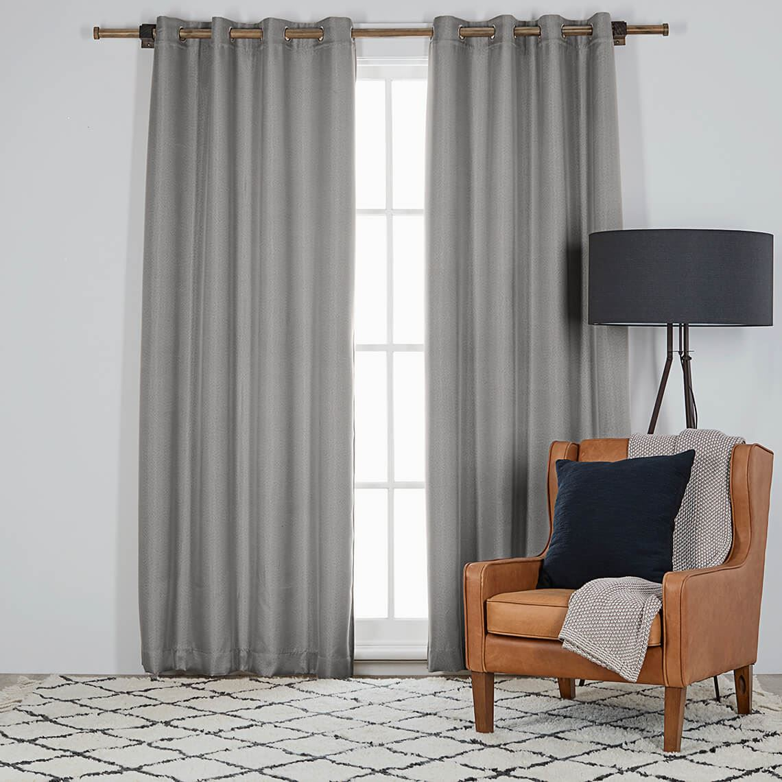 Harrison Room Darkening Eyelet Curtain Size W 135cm x D 0cm x H 230cm in Silver 100% Polyester Freedom by Freedom, a Curtains for sale on Style Sourcebook