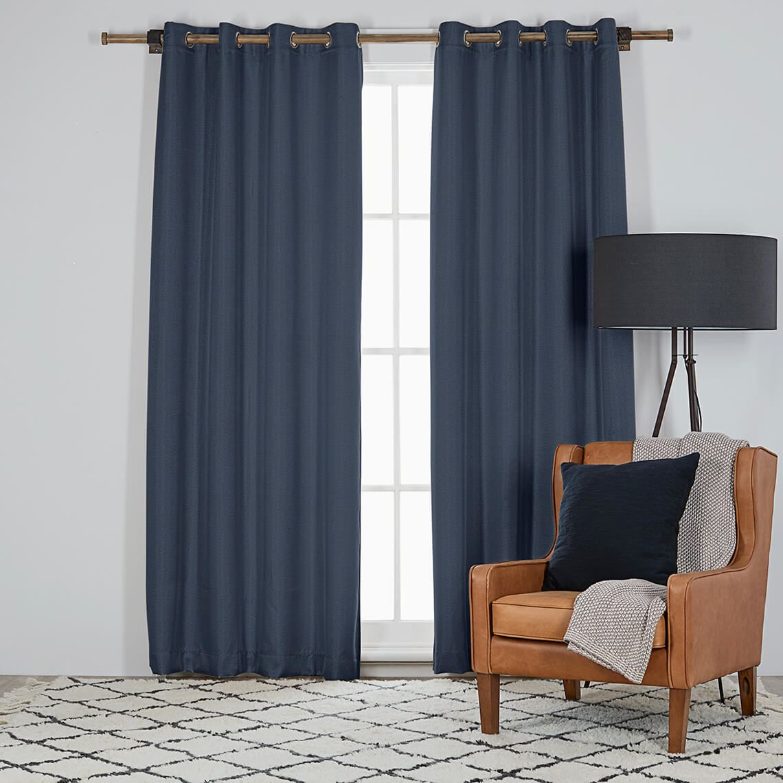 Harrison Room Darkening Eyelet Curtain Size W 135cm x D 0cm x H 230cm in Indigo 100% Polyester Freedom by Freedom, a Curtains for sale on Style Sourcebook