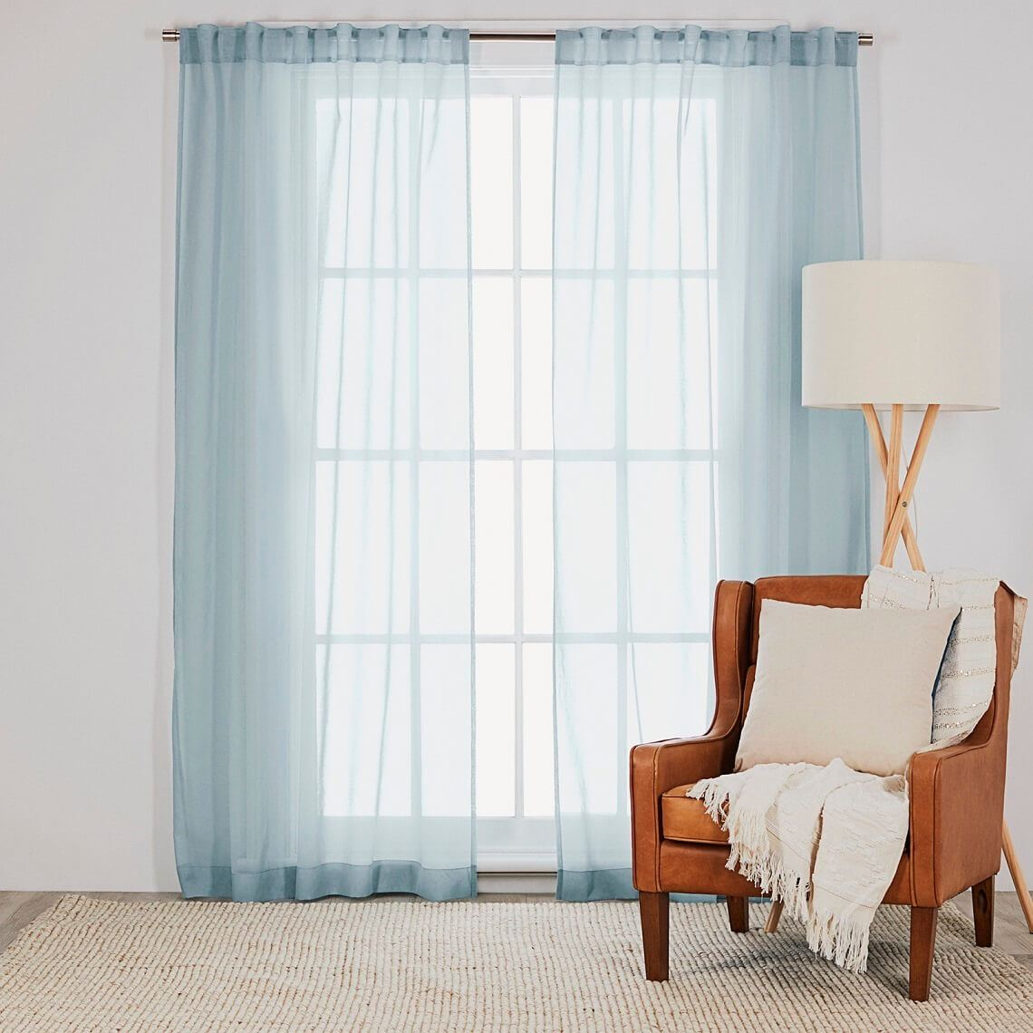 Mineral Sheer Tab Top Curtain Size W 140cm x D 0cm x H 230cm in Duck Egg 100% Polyester Freedom by Freedom, a Curtains for sale on Style Sourcebook