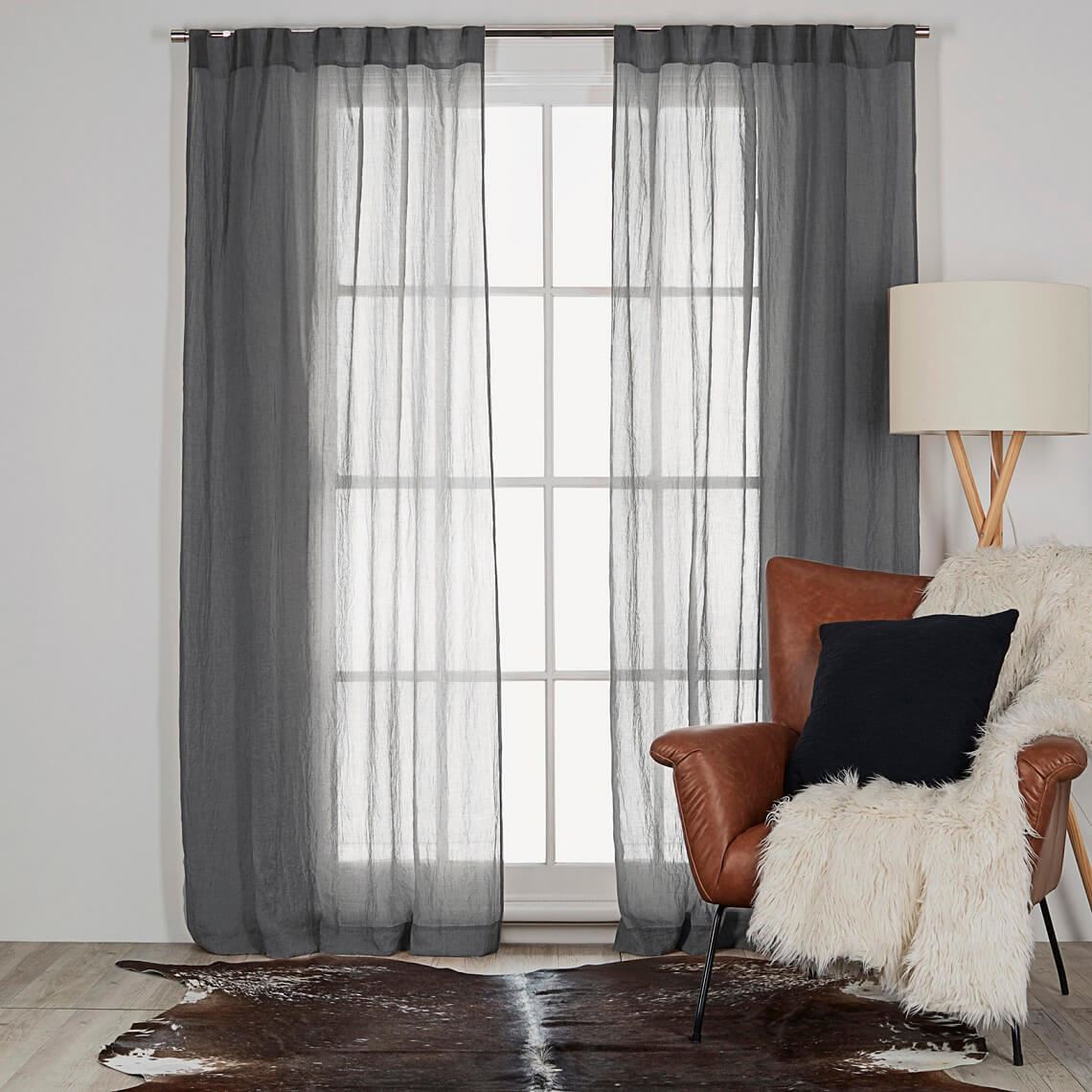 Angus Sheer Tab Top Curtain Size W 140cm x D 0cm x H 230cm in Charcoal 100% Polyester Freedom by Freedom, a Curtains for sale on Style Sourcebook