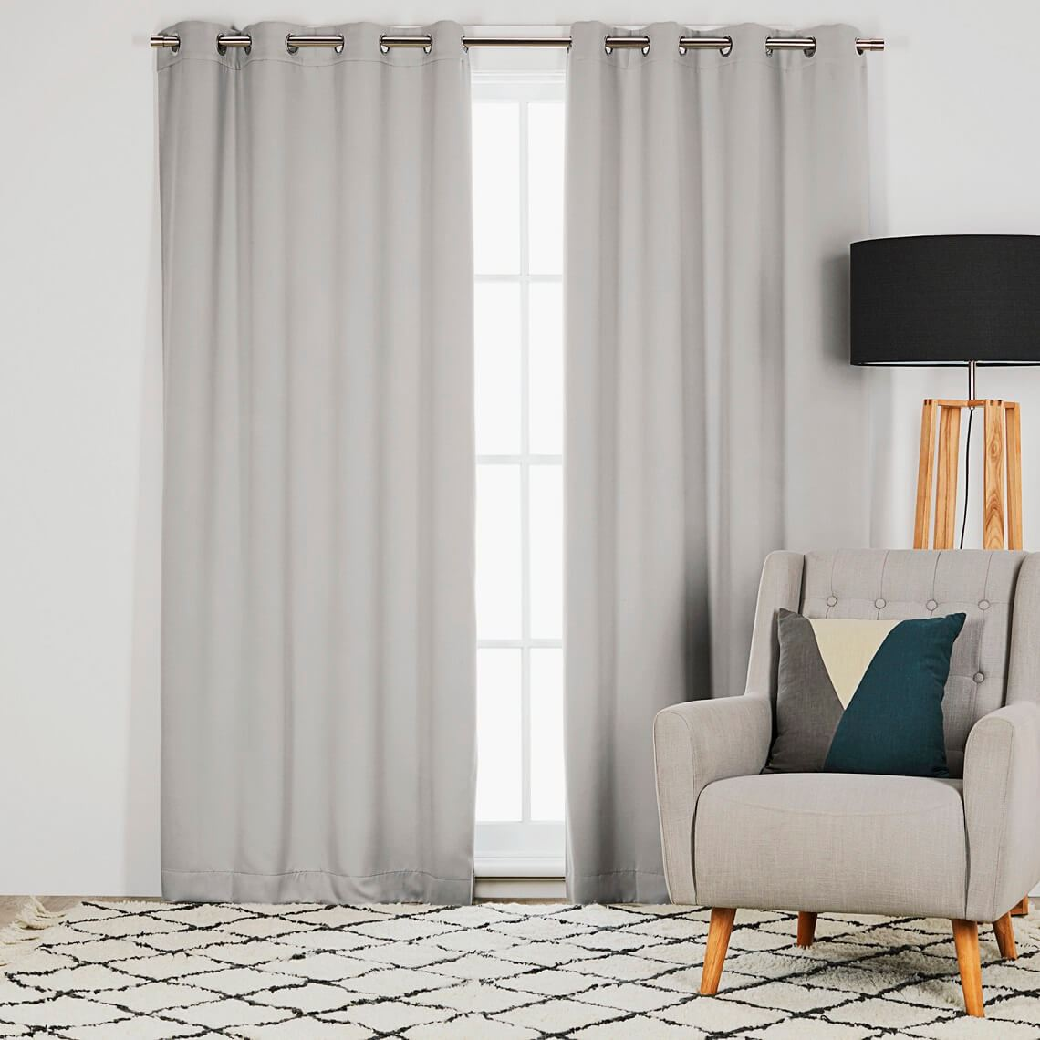 Barlow Room Darkening Eyelet Curtain Size W 135cm x D 0cm x H 230cm in Stone 100% Polyester/Acrylic Flock Coating/Stainless Steel Freedom by Freedom, a Curtains for sale on Style Sourcebook