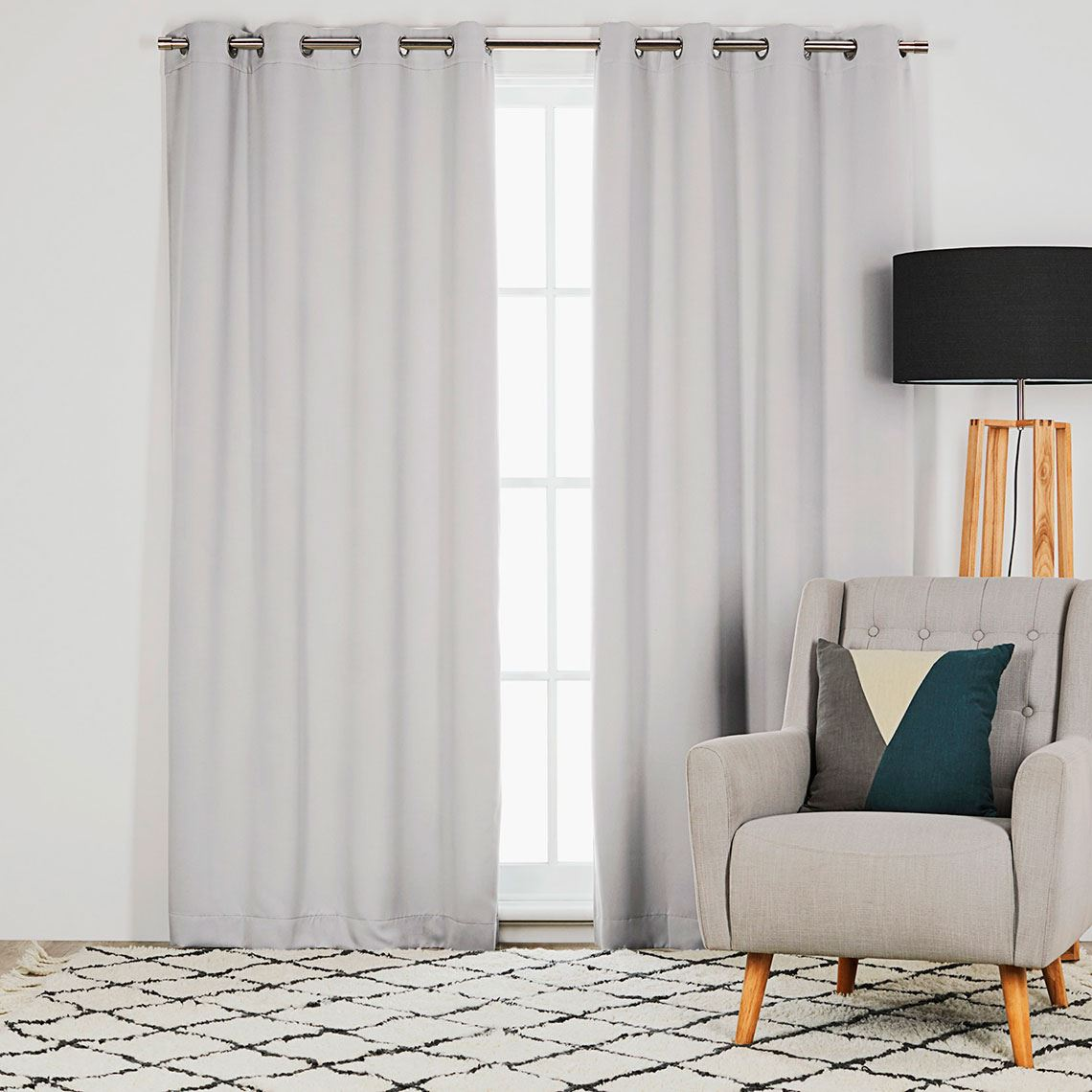 Barlow Room Darkening Eyelet Curtain Size W 135cm x D 0cm x H 230cm in Silver 100% Polyester/Acrylic Flock Coating/Stainless Steel Freedom by Freedom, a Curtains for sale on Style Sourcebook