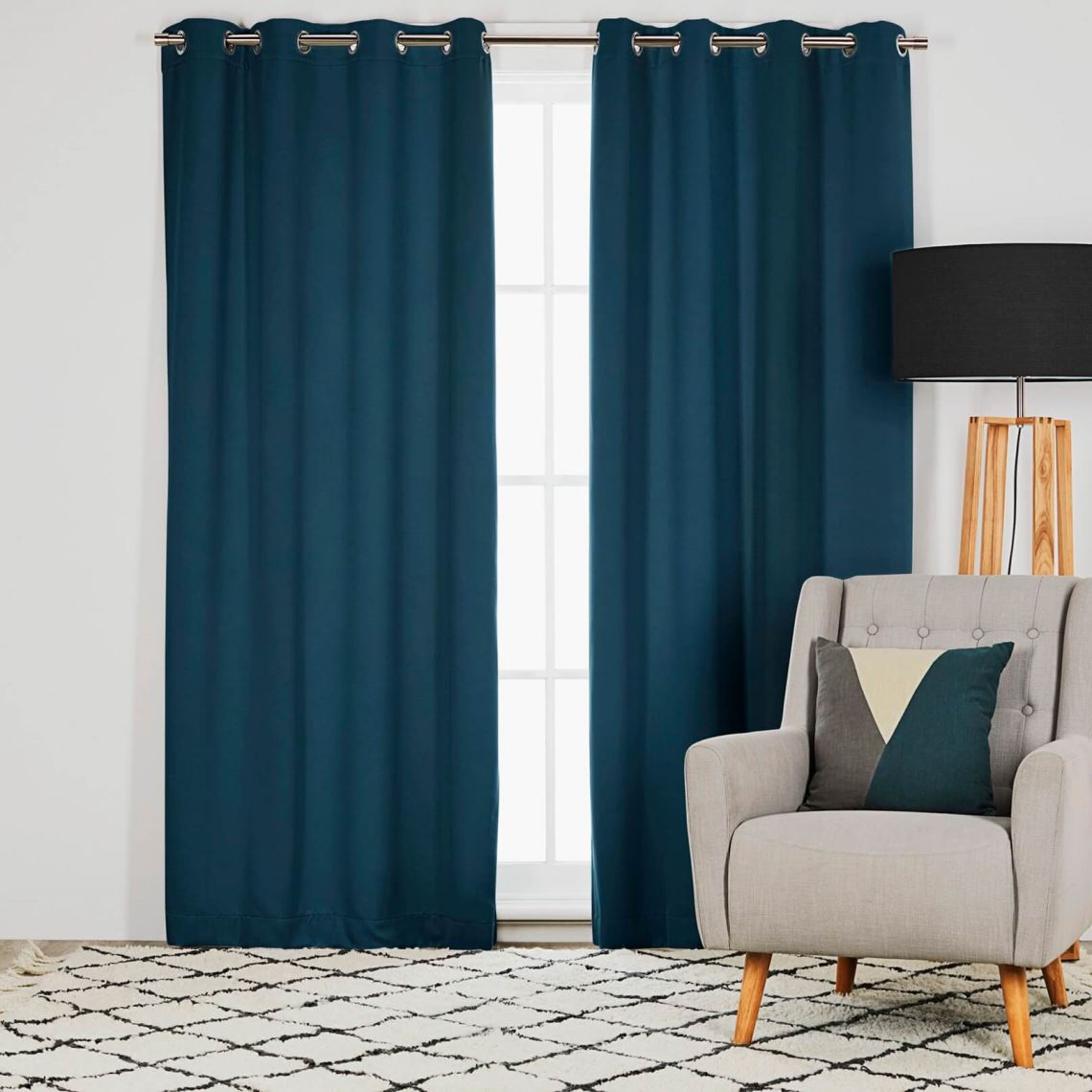 Barlow Room Darkening Eyelet Curtain Size W 135cm x D 0cm x H 230cm in Peacock 100% Polyester/Acrylic Flock Coating/Stainless Steel Freedom by Freedom, a Curtains for sale on Style Sourcebook