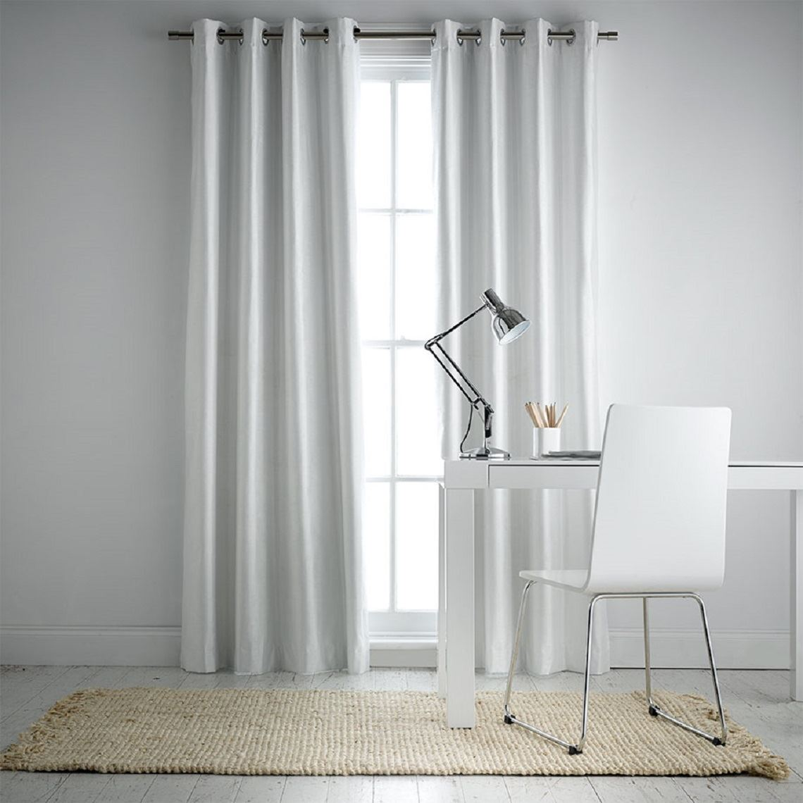 Aberdeen Blockout Eyelet Curtain Size W 180cm x D 0cm x H 250cm in White 100% Polyester/Acrylic Flock Coating/Stainless Steel Freedom by Freedom, a Curtains for sale on Style Sourcebook