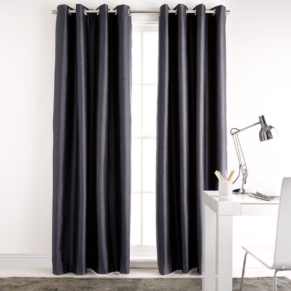 Aberdeen Blockout Eyelet Curtain Size W 180cm x D 0cm x H 250cm in Slate 100% Polyester/Acrylic Flock Coating/Stainless Steel Freedom by Freedom, a Curtains for sale on Style Sourcebook