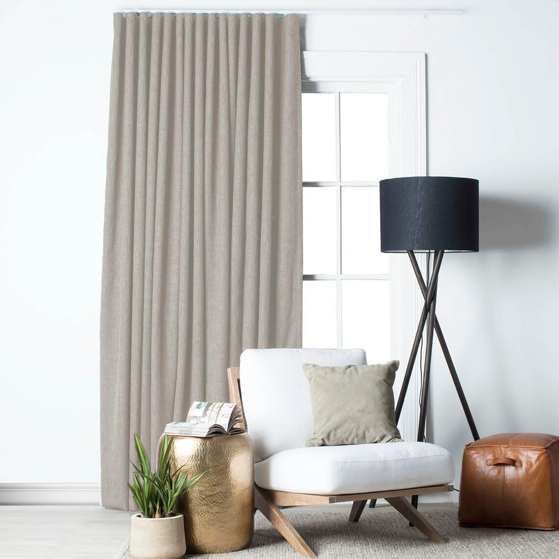 Lyndon Blockout S Fold Curtain Size W 280cm x D 1cm x H 280cm in Stone 100% Polyester Freedom by Freedom, a Curtains for sale on Style Sourcebook