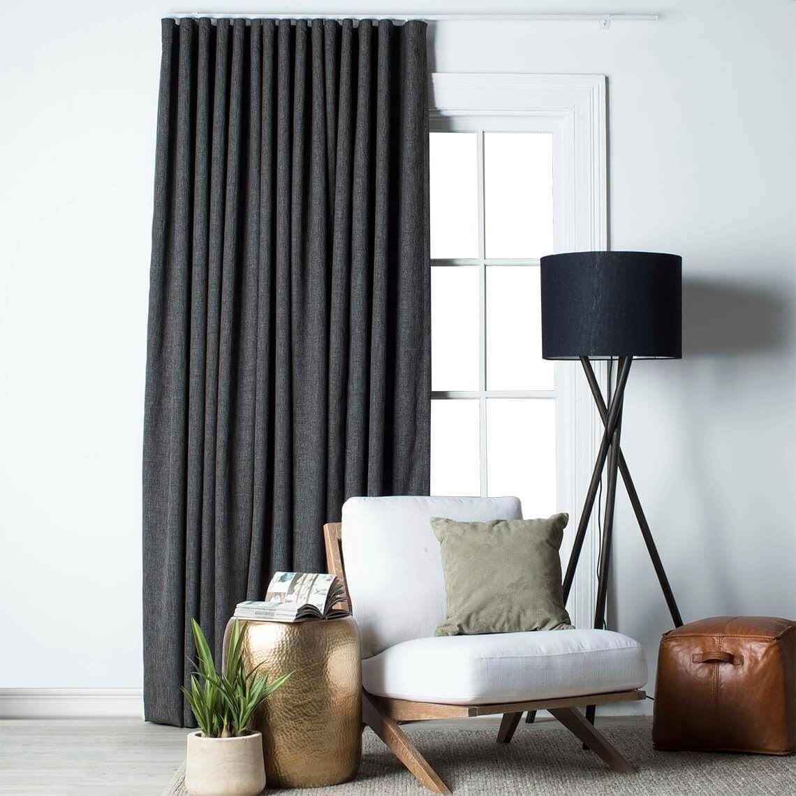 Lyndon Blockout S Fold Curtain Size W 360cm x D 1cm x H 280cm in Charcoal 100% Polyester Freedom by Freedom, a Curtains for sale on Style Sourcebook