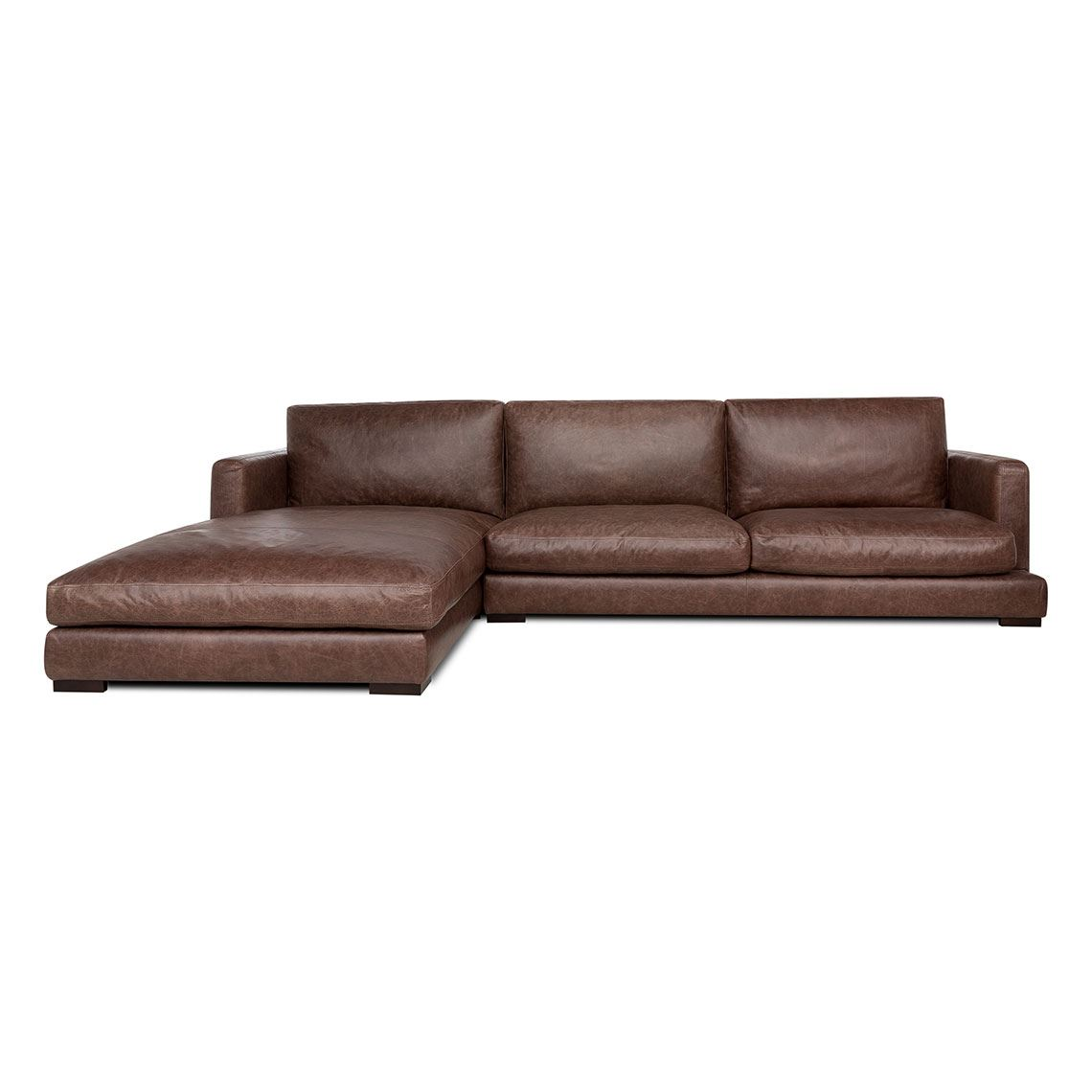 Hamilton 3 Seat Leather Modular Sofa w/ Left Chaise Size W 330cm x D 211cm x H 86cm in Chocolate Brown Leather/Foam/Fibre Freedom by Freedom, a Sofas for sale on Style Sourcebook