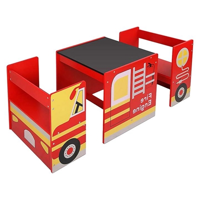 Fire Engine Kids' 3-Piece Table & Chairs Set by Big Fun Club, a Kids Chairs & Tables for sale on Style Sourcebook