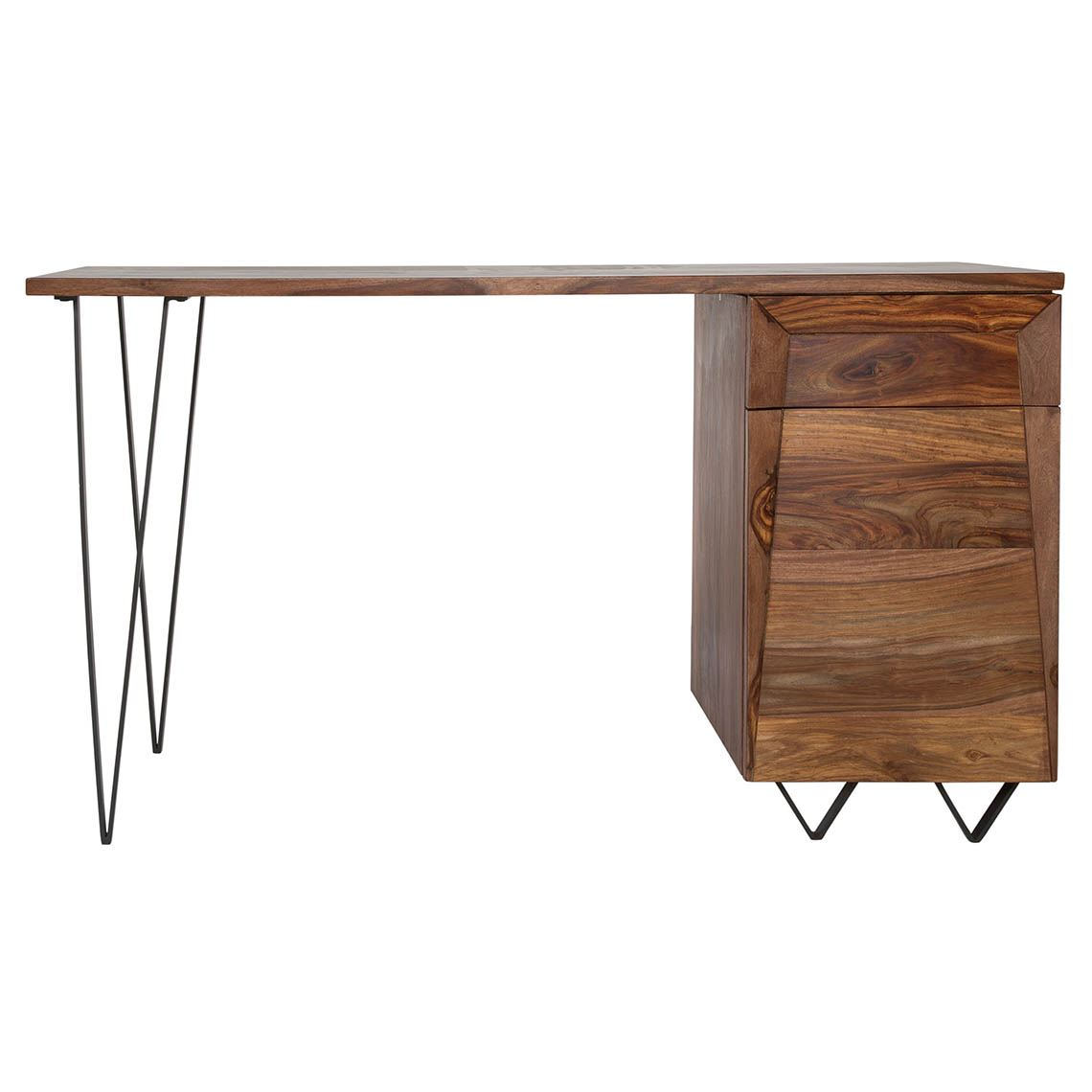 Wyatt Desk Size W 135cm x D 50cm x H 76cm in Natural Sheesham Wood/Steel Freedom by Freedom, a Desks for sale on Style Sourcebook