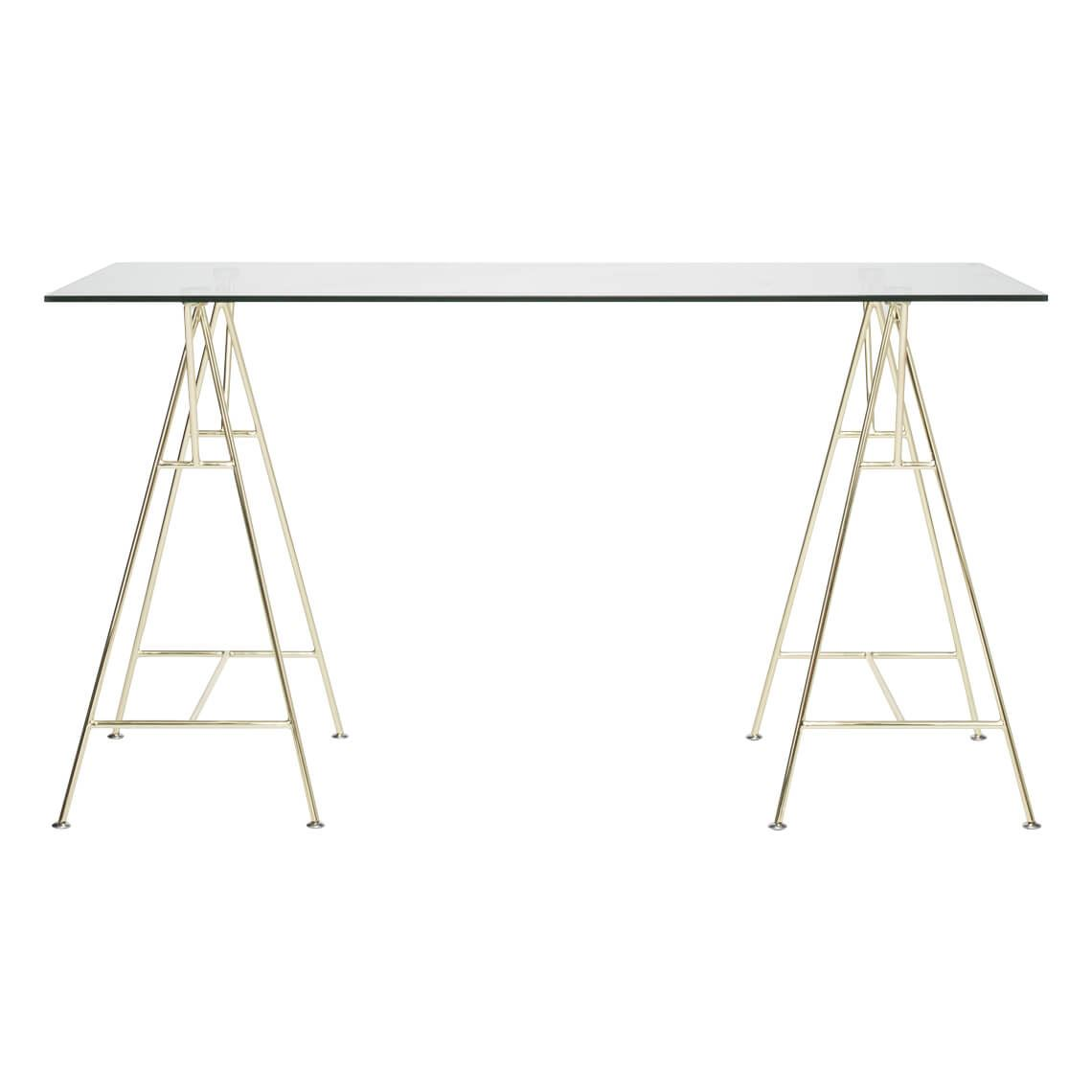 Modern Trestle Desk Size W 140cm x D 60cm x H 76cm in Gold Tempered Glass/Steel Freedom by Freedom, a Desks for sale on Style Sourcebook