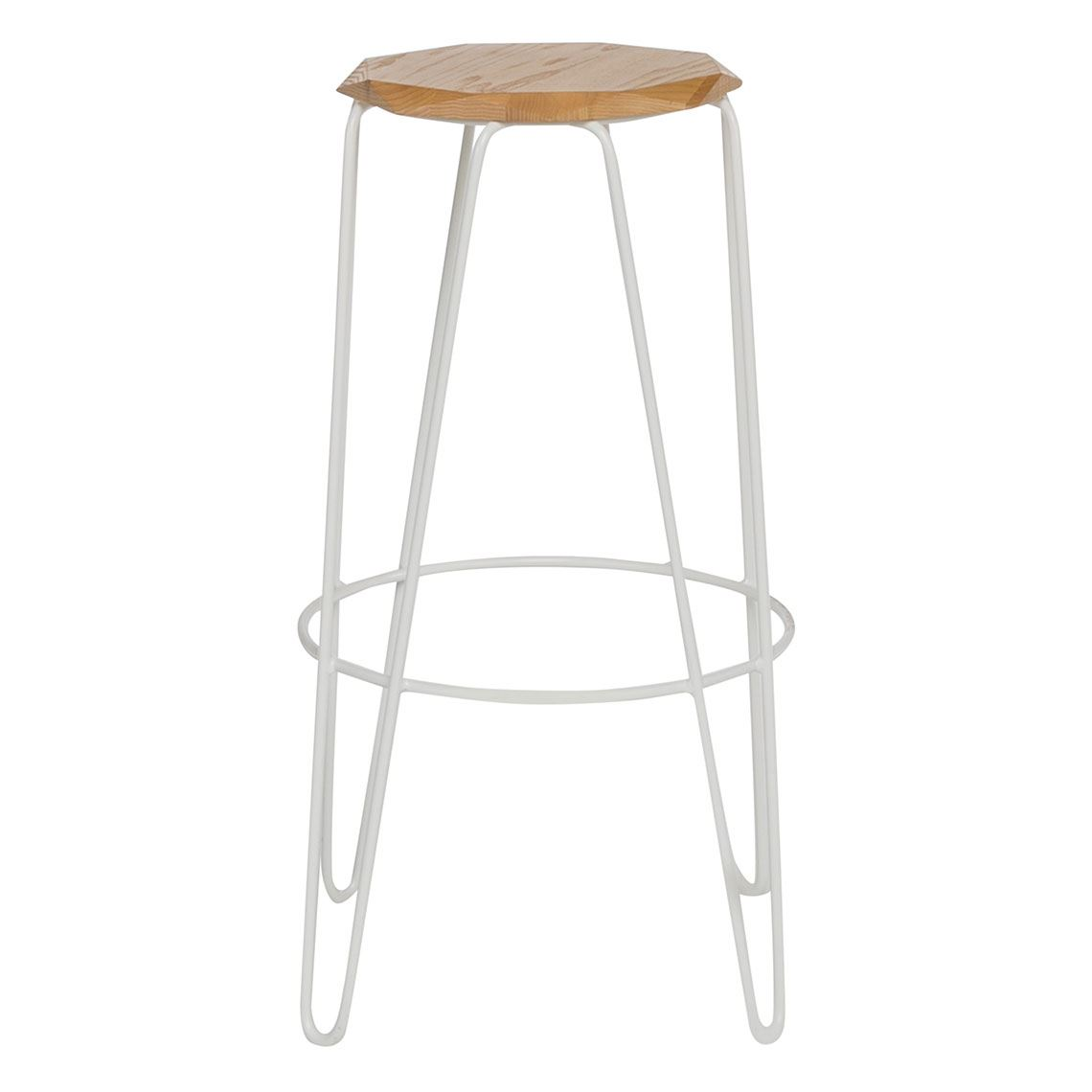 Chisel Bar Stool Size W 40cm x D 40cm x H 75cm in White Solid Ash/Metal Freedom by Freedom, a Dining Tables for sale on Style Sourcebook