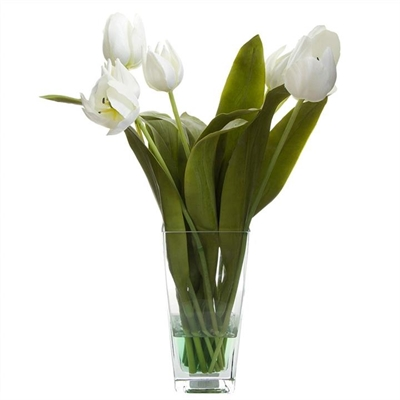 Artificial Tulips in Glass Vase, White by Florabelle, a Plants for sale on Style Sourcebook