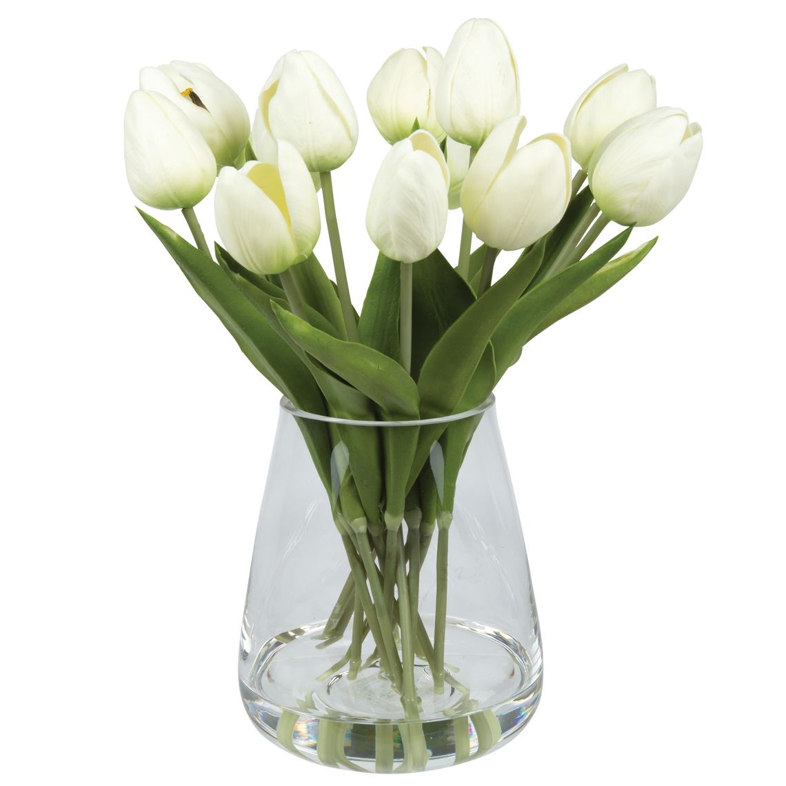 Tulips In Tub Vase Size W 34cm x D 34cm x H 36cm in White Plastic/Glass Freedom by Freedom, a Plants for sale on Style Sourcebook