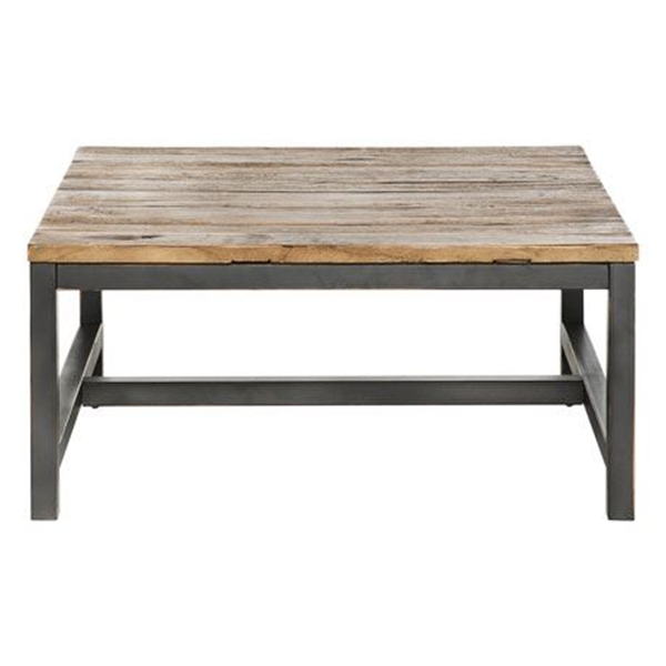 Wharf Coffee Table Size W 90cm x D 90cm x H 40cm in Natural/Black Reclaimed Elmwood/Steel Freedom by Freedom, a Coffee Table for sale on Style Sourcebook