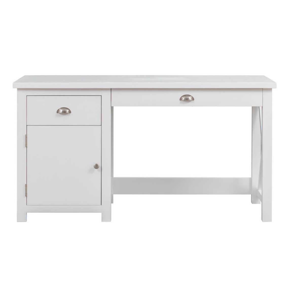 East Port Desk 2 Drawer Size W 140cm x D 55cm x H 76cm in Crisp White Solid Acacia/Wood/Metal Freedom by Freedom, a Desks for sale on Style Sourcebook