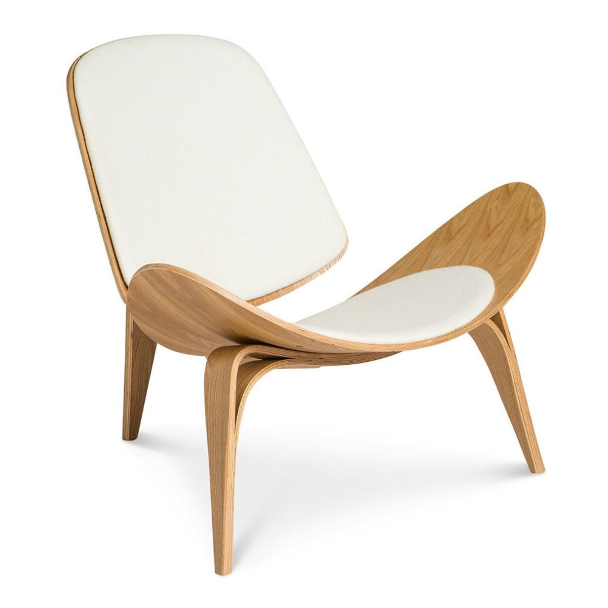 WEGNER CH07 SHELL CHAIR REPLICA - ALPINE SNOW + NATURAL by The Design Edit, a Chairs for sale on Style Sourcebook