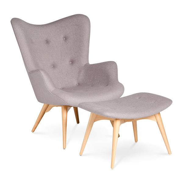 FEATHERSTON R160 CONTOUR CHAIR + OTTOMAN REPLICA - ASH GREY by The Design Edit, a Chairs for sale on Style Sourcebook