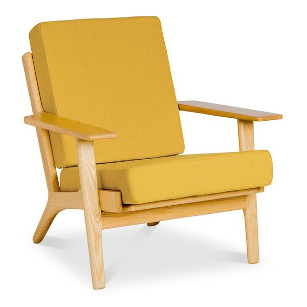 WEGNER PLANK EASY CHAIR (GE 290) REPLICA - DIJON MUSTARD by The Design Edit, a Chairs for sale on Style Sourcebook