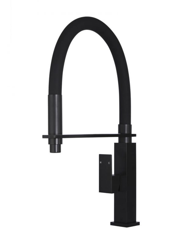 MATTE BLACK SQUARE FLEXIBLE KITCHEN MIXER TAP by Meir, a Kitchen Taps & Mixers for sale on Style Sourcebook