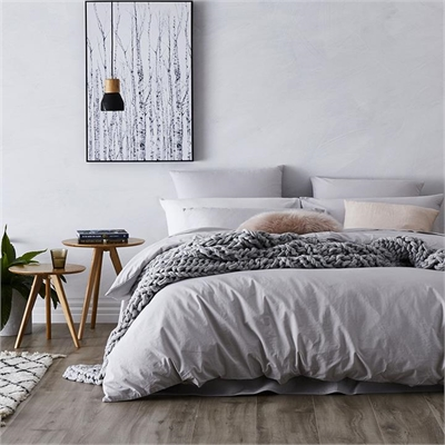 Home Republic Stonewashed Cotton Bedlinen W17 Queen Silver Quilt Cover By Adairs by Home Republic, a Quilt Covers for sale on Style Sourcebook