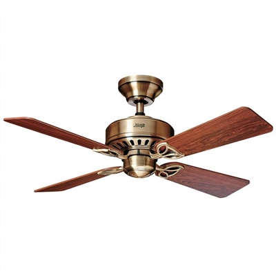 Hunter Bayport Antique Brass Ceiling Fan with Rosewood / Medium Oak Switch Blades by Hunter, a Ceiling Fans for sale on Style Sourcebook