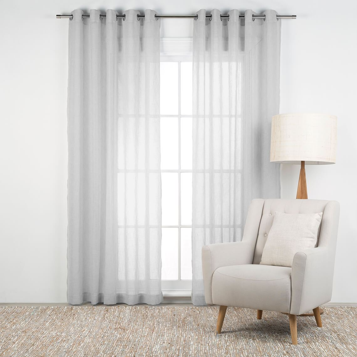 Bardwell Eyelet Curtain Size W 140cm x D 1cm x H 230cm in Silver Polyester/Stainless Steel Eyelets Freedom by Freedom, a Curtains for sale on Style Sourcebook