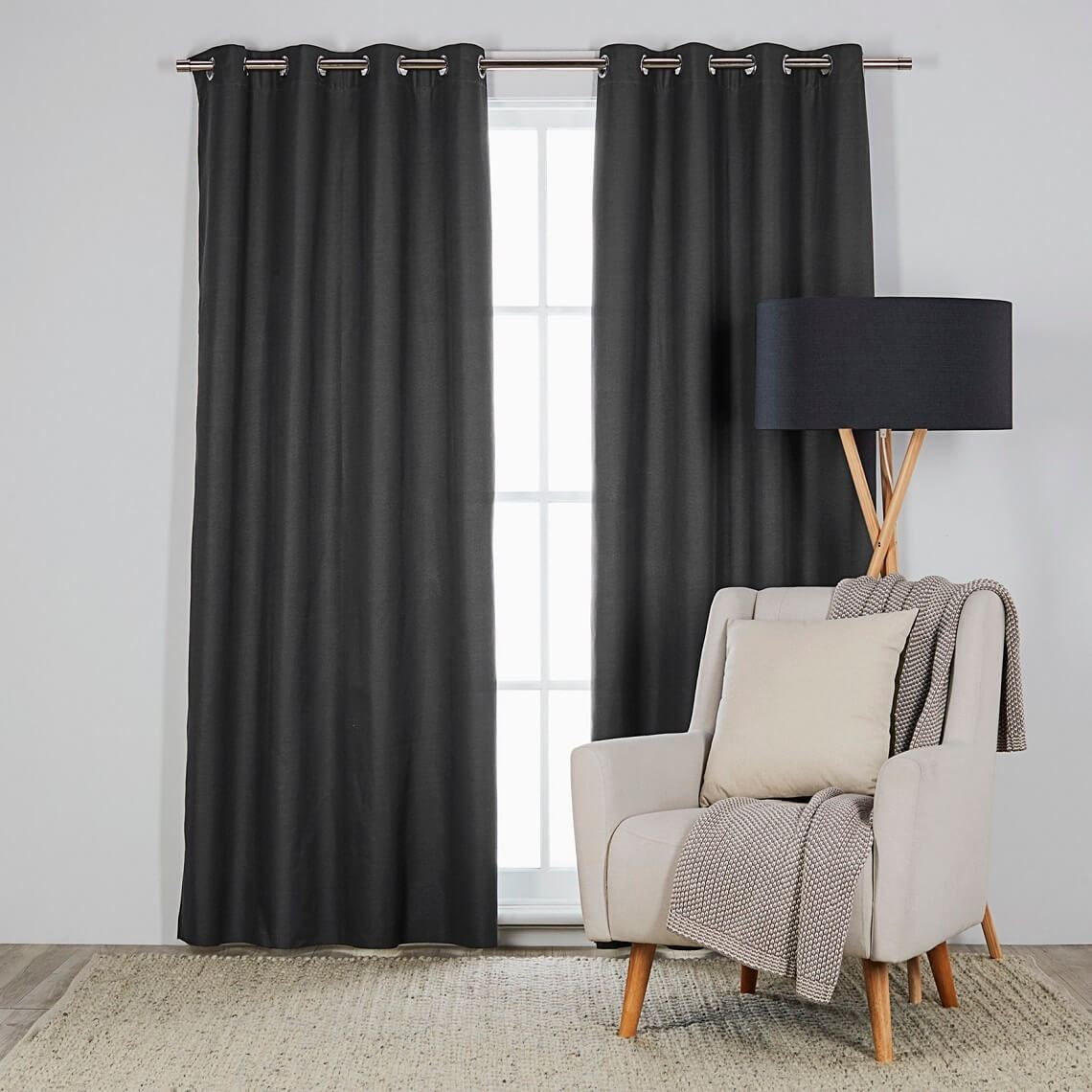 Berle Blockout Eyelet Curtain Size W 300cm x D 0cm x H 260cm in Charcoal Polyester/Acrylic Flock Coating/Stainless Steel Eyelets Freedom by Freedom, a Curtains for sale on Style Sourcebook