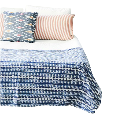 Indigo Long Island  Kantha Quilt by Peacocks and Paisley, a Quilt Covers for sale on Style Sourcebook