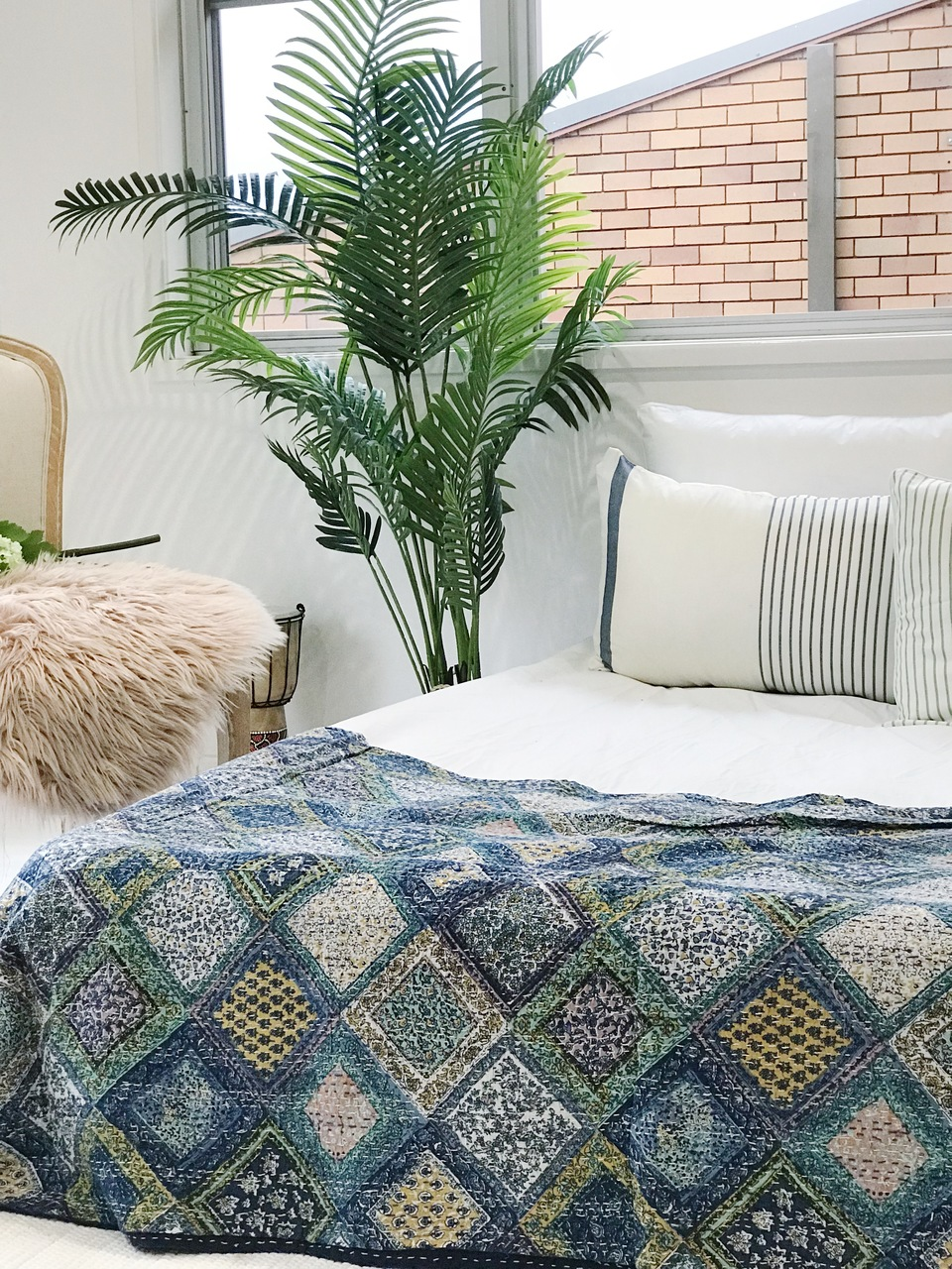 Sapphire Patchwork Print Kantha Quilt by Peacocks and Paisley, a Quilt Covers for sale on Style Sourcebook