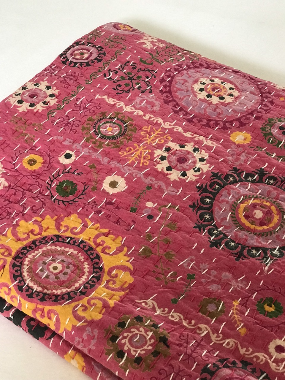 Rose  Suzani  Kantha Quilt by Peacocks and Paisley, a Quilt Covers for sale on Style Sourcebook