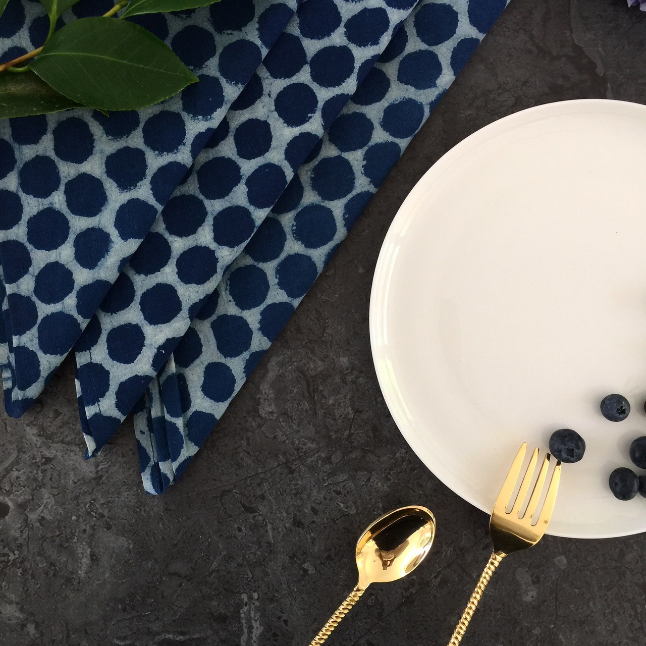 Indigo Dots Napkins -Set Of 4 by Peacocks and Paisley, a Napkins for sale on Style Sourcebook