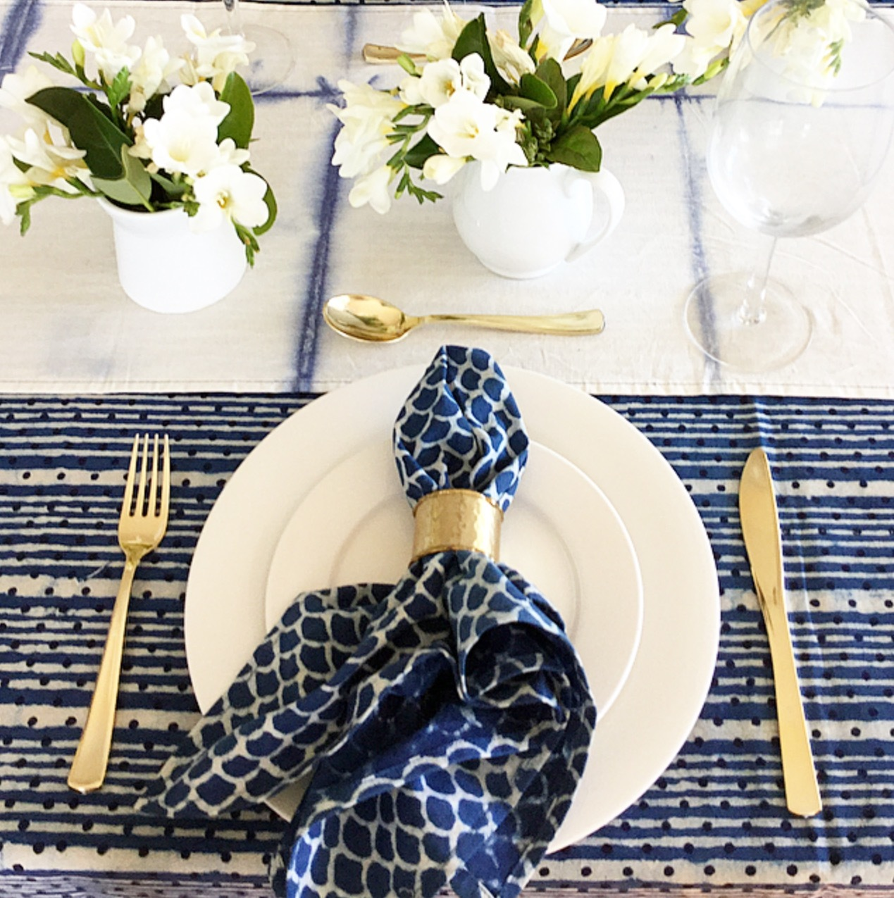 Coastal Shibori Table Runner by Peacocks and Paisley, a Table Cloths & Runners for sale on Style Sourcebook