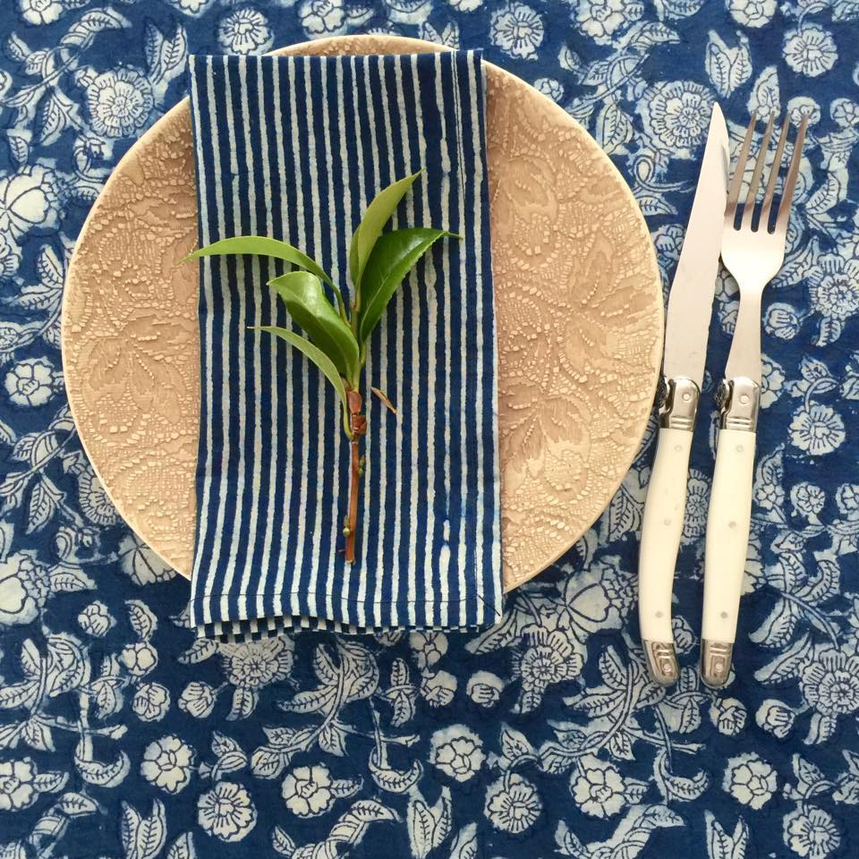 Indigo Floral Tablecloth (180x275cm) by Peacocks and Paisley, a Table Cloths & Runners for sale on Style Sourcebook